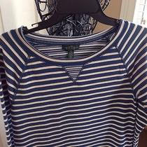 Lauren Ralph Lauren Jeans Co. Sweat Top Blue White Striped Long Sleeve Casual S Photo