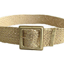 Lauren Ralph Lauren Metallic Gold Painted Braided Belt Sz M Photo