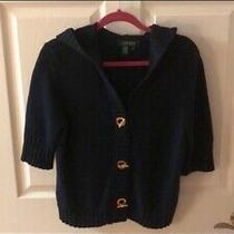 Lauren Ralph Lauren Navy Gold Sweater Hoodie Cotton Size M Photo