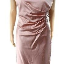 Lauren Ralph Lauren New Blush Women's 14 Satin Gathered Sheath Dress 194 536 Photo