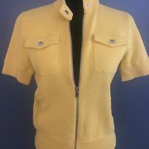Lauren Ralph Lauren Petite Small Zip Up Sweater Yellow Short Sleeve Womens Nwot Photo