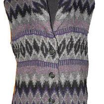 Lauren Ralph Lauren Sweater Vest Lambs Wool Indian Purple Gray Black Womens M Photo