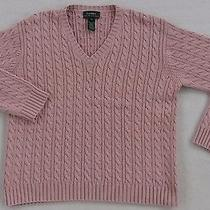 Lauren Ralph Lauren Women's Cable Knit L/s v-Neck Sweater - Blush Pink - Small Photo