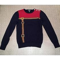 Lauren Ralph Lauren Women's Ls Gold Button Equestrian Belt Sweater Size M Photo