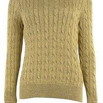 Lauren Ralph Lauren Women's Metallic Cable Knit Sweater (L Gold) Photo