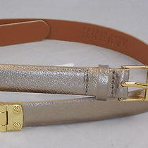 Lauren Ralph Lauren Womens Gold Belt Leather Hinged Connector Skinny Belt Size L Photo