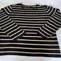 Lauren Ralph Lauren Xl Black and Gold Metallic Striped Shirt Photo
