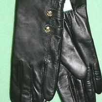 Lauren Ralph Laurn Black Leather Gloves Rll Gold Buttons Nwts Photo