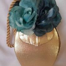 Lauren Scherr Gold Organza Teal Blue Floral Wristlet Purse  Photo