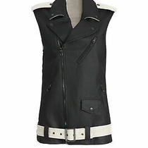 Laveer Black Women's Size Large L Motorcycle Coated Vest Jacket 645- 058 Photo