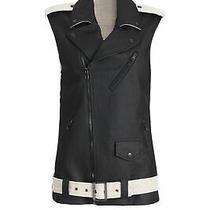 Laveer Black Women's Size Medium M Leather Notch Lapel Coated Vest 645- 321 Photo
