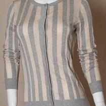 Lavender Label Vera Wang Sweater Cardigan Striped Knit Top Gray Gold Size S P Photo