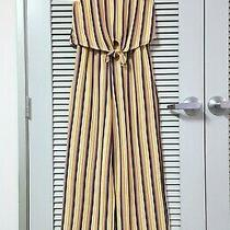 Lavender/ Mustard/ Rust St Ribbed Tie Front Jumpsuit S Urban Outfitters Earrings Photo