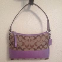 Lavender Signature Stripe Coach Purse or Make-Up Bag... Free Shipping Photo
