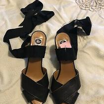 Lavin Strappy/ribbon Wedge Sandal Size 37 Euc Photo