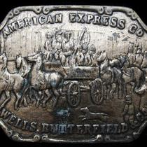 Lb11107 Vintage 1970s American Express Co. Wells Butterfield & Co. Belt Buckle Photo