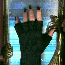 Lbs Unisex 100% Cashmere Hand Knitted Wool Black Hobo Fingerless Gloves Mitten Photo