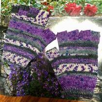 Lbs Unisex Hobo Hand Knitted Grey Purple Wool Fingerless Gloves Australian Made  Photo