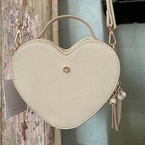 Lc Lauren Conrad Blush Cream Ivory Heart Purse Bag Crossbody Rose Gold Nwt Photo
