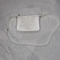 Lc Lauren Conrad Crossbody Woven Front Candid Bag Purse White Rose Gold Zipper Photo