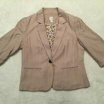 Lc Lauren Conrad Women's Cream Pink Blush 3/4 Sleeve Blazer Jacket Size 6 Photo