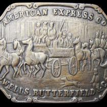 Lc01104 Vintage 1970s American Express Co Wells Butterfield & Co Belt Buckle Photo