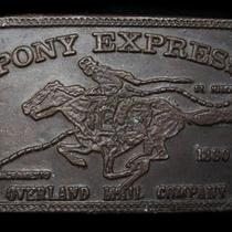 Lc03140 Vintage 1970s Pony Express Overland Mail Company Old West Belt Buckle Photo