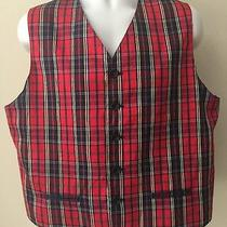 Le Collezioni Structure Express Red Plaid Silk Vest Holiday Christmas Large Photo