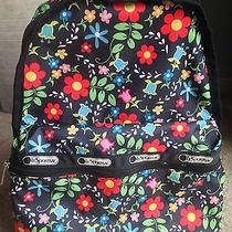 Le Sport Sac Backpack Black Floral Design Small Medium Photo