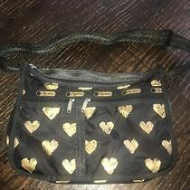 Le Sport Sac Bag Purse Black Gold Hearts With Inside Removeable Pouch Photo