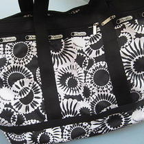 Le Sport Sac Large Black and White Patterened Tote Travel Bag Photo