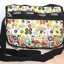 Le Sport Sac Purse Crossbody Messenger White Rainbows & Critters Guc Photo
