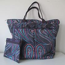 Le Sportsac 2pc Purple Paisley Printed Polyester Tote Shopper Handbag  Photo