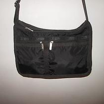 Le Sportsac Black Deluxe Everyday Crossbody/shoulder Bag Purse & Print Pouch Photo