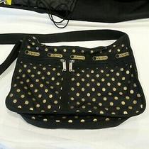 Le Sportsac Black Purse Gold Sparkle Polka Dot Handbag Pocketbook Photo