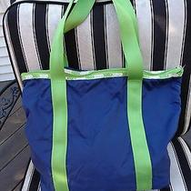 Le Sportsac Blue and Green Tote Handbag With Zipper Photo