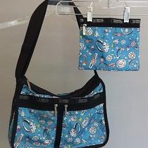 Le Sportsac Blue Diamond Rings Nylon Bling Pattern Crossbody W/ Cosmetic Case Photo