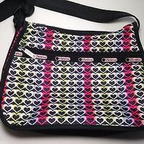 Le Sportsac Crossbody Handbag Heart Hearts Black Pink Purple Green  Photo