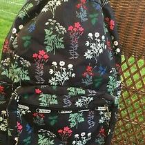 Le Sportsac Flowerbed Floral Black Essential Backpack Laptop School Bag Photo