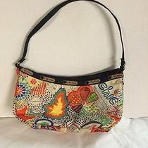 Le Sportsac Handbag Love Chic Bright Colors Floral Geometric Shapes Small Purse  Photo