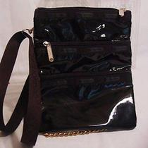 Le Sportsac Kasey Black Patent 7627 Crossbody Messenger Bag  Nwt Photo