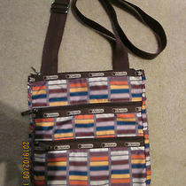 Le Sportsac Kasey Crossbody Purse Bag Tote Brown Purple Orange Rectangle 3 Zippe Photo