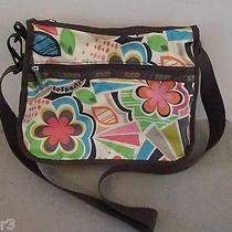 Le Sportsac Older Brown Floral Botanical Hobo Crossbody Tote Bag Handbag Purse Photo