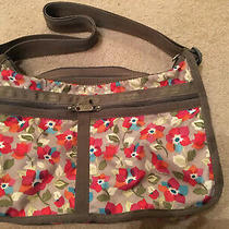 Le Sportsac Purse Floral Tan Pink Expandable Bag Tote Photo