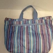 Le Sportsac Purse Purple Blue Stripes Handles Le Sports Sac Photo