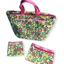 Le Sportsac Small Tote Bag Retro Floral Green Pink Yellow Cosmetic Change Purse Photo