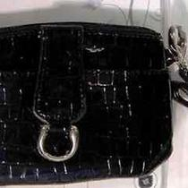 Le Tique Black Faux Croc Wristlet Photo