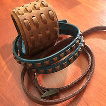 Leather and Suede Wrist Cuffs Lot - Frye - Brown - Turquoise - Camel Photo