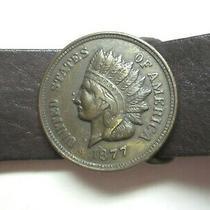 Leather Belt 1877 Indian Head Penny Brass Buckle Native American Women M Men S Photo