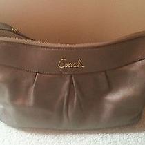 Leather Coach Bronze Shoulder Bag Gently Worn Photo